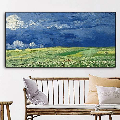 ganlanshu Leinwand Kunst Ölgemälde unter Lei Yunfan berühmten Maler Kunst Poster Moderne Home Office Dekoration,Rahmenlose Malerei,50x100cm