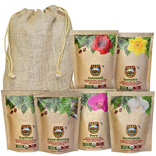 Java Planet - Coffee Beans, Organic Coffee Sampler Pack in Linen Bag, Whole Bean Variety Pack, Arabica Gourmet Specialty Coffee, 1.32 POUNDS of coffee packaged in six 3.2 oz bags