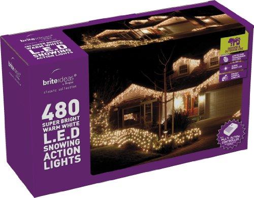 Festive-480 luci a LED a forma di ghiacciolo di neve, colore: bianco caldo