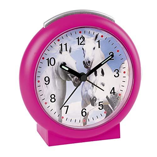 Despertador infantil analógico de caballos, sin tictac, color rosa – 2121/8