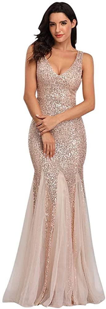 Sleeveless Double V-Neck Long Factory outlet Mermaid Dres Formal Sequin Animer and price revision Evening