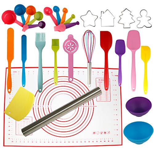 Silicone Spatula Set of 29 - Rolling Pin, Cookie Cutters, Pastry Mat, Measuring Spoons and Cups, Pinch Bowls, Dough Scraper, Kitchen Utensils Tools Created Cookware Cooking Mixing Baking Supplies