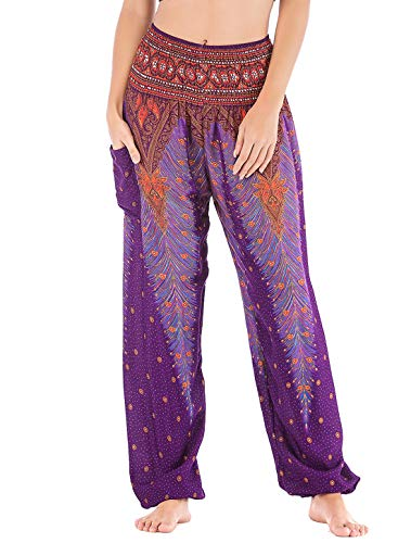 FEOYA Pantalon Aladin Femme Sarouel Femme Pantalon Bouffant Léger Pantalon Fluide Femme Eté Pantalon Yoga Equitation Femme