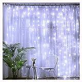 Foroner LED Vorhang Lichter mit 8 Modi Gardine String für Fee Hochzeit Beleuchtung (Weiß-3 * 3M-300Licht)