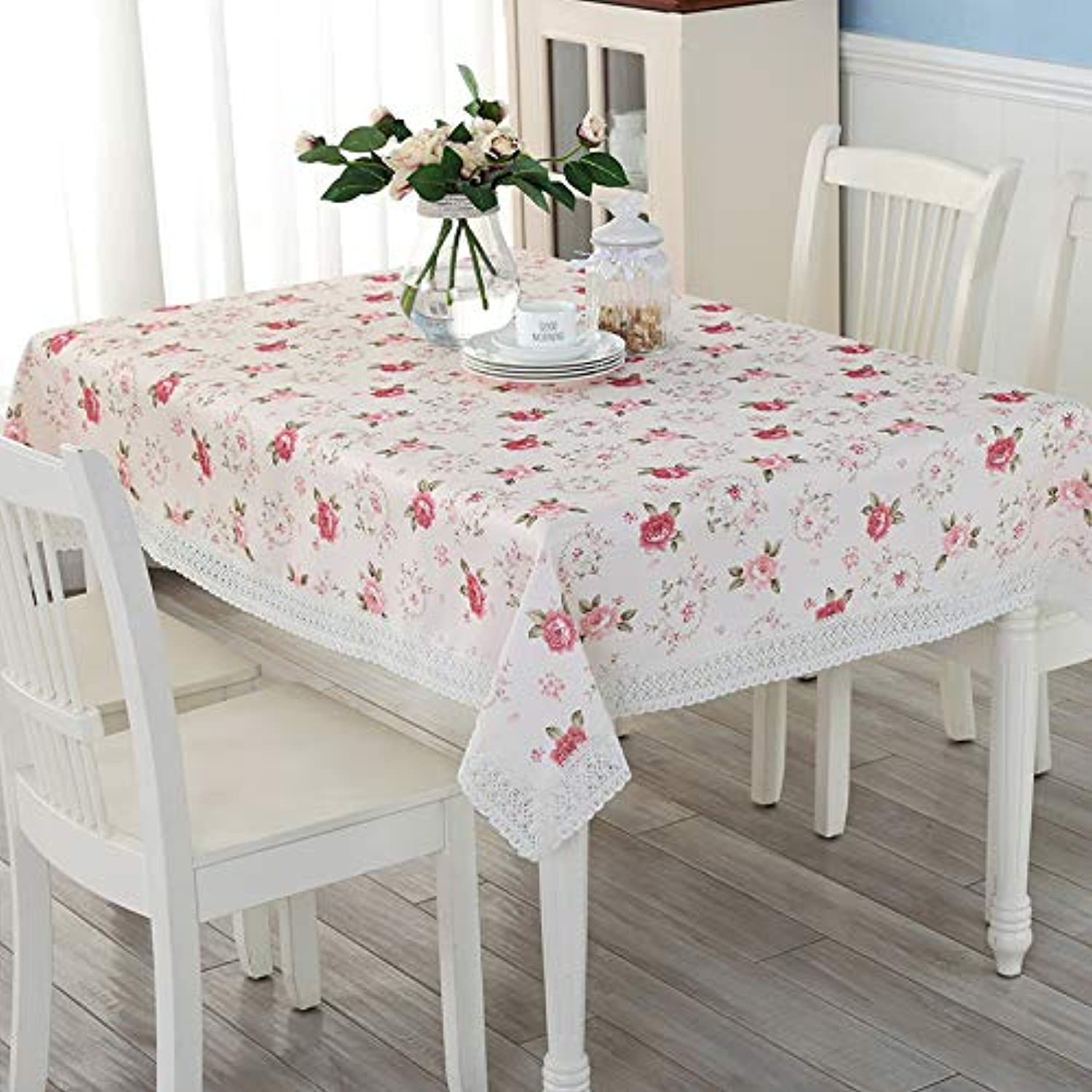Creek Ywh Table cloth fabric cotton linen garden linen tablecloth tablecloth coffee table rectangular cover towel square scarf, pink blossoming  pink, 140140cm