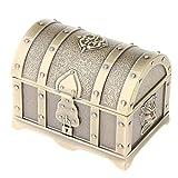 Baoblaze Cofre de Tesoro Retro de Caja de Joyería de Metal Vintage para Mujeres...