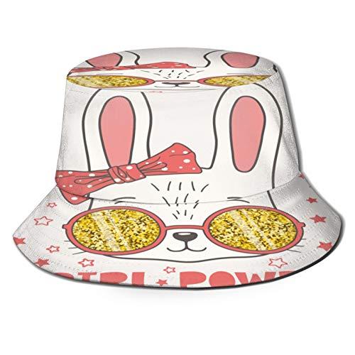 Yoliveya Sombrero de Pesca,Lindo Conejito con Gafas De Sol Brillantes Chica,Senderismo para Hombres y Mujeres al Aire Libre Sombrero de Cubo Sombrero para el Sol