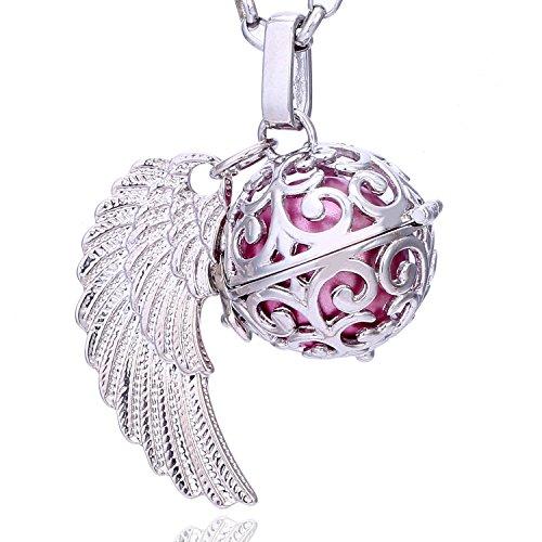 Morella Damen Schutzengel Halskette Edelstahl 70 cm mit Anhänger Engelsflügel und Klangkugel rosa Ø 16 mm in Schmuckbeutel