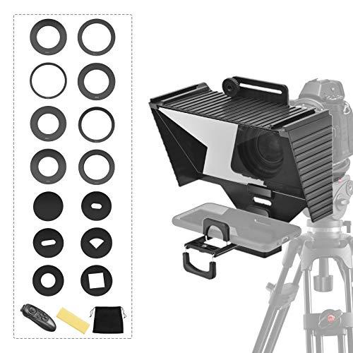 ETE ETMATE Teleprompter con función de control remoto, apto para smartphones, tabletas, cámaras réflex digitales, trípodes de escritorio y adaptadores de lentes, transmisión en vivo, Vlog, Youtube