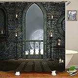 JUAN Rideau de Douche imperméable_Fantasy Forest Series 3D Rideau de Douche imperméable Impression numérique Haute définition, 200 * 180cm, Gazon, Porte de Pierre ensoleillée