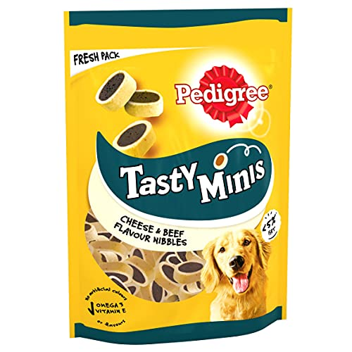 Pedigree Tasty Bites Dog Treats Cheesy Nibbles Cheese and Beef 140g (Pack of 8)