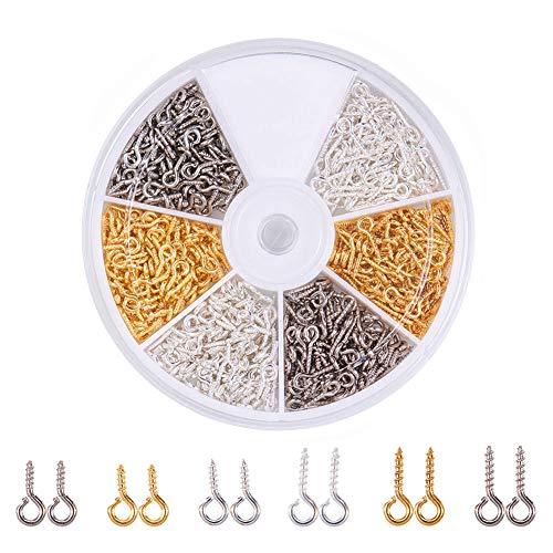 PandaHall Elite 700 STK. Eisenschraube Ösenstift Bail Peg für halbgebohrte Perlen Schmuckherstellung, Golden/Silber/Platin, 10x4x1mm, Bohrung: 2mm, 6 gemischte Farben