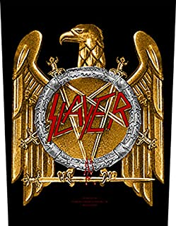 XLG Slayer Gold Eagle Back Patch Logo Heavy Metal Music Jacket Sew On Applique