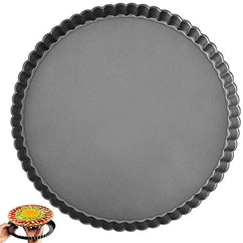 NALCY Molde Antiadherente Acanalado para Quiche y Tartas con Base extraíble para Pizzas, Tartas, Herramienta de Cocina Antiadherente, 9 Pulgadas