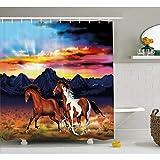 ZLWSSA 3D Wasserdichter Duschvorhang Western Running Wild Horses at Sunset Badezimmer Dekor Set Mit Haken 180x240cm