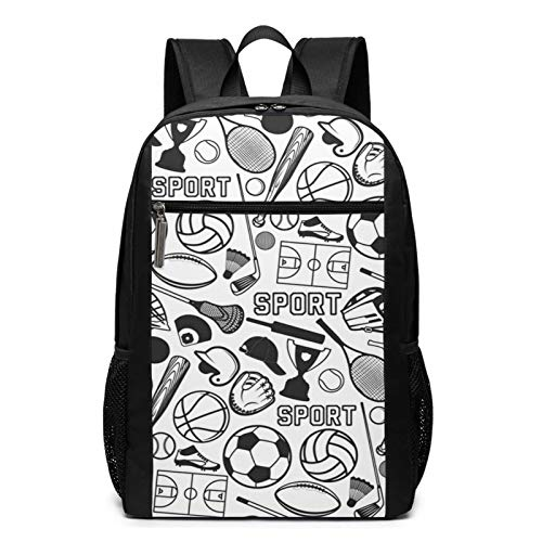 School Backpack Ball Sport Badges Labels Football, College Book Bag Business Travel Daypack Casual Rucksack for Men Women Teenagers Girl Boy