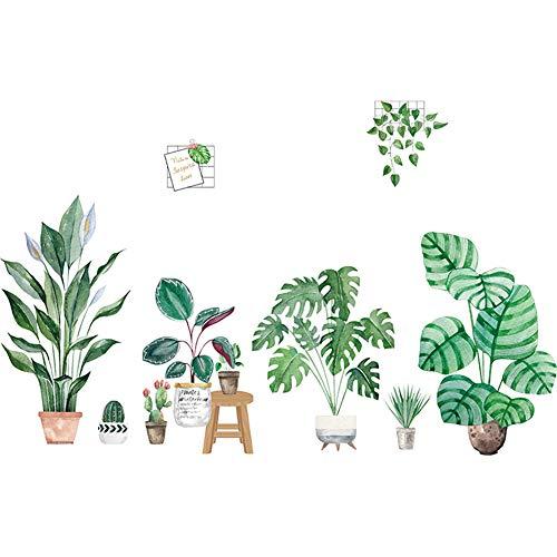 LPxdywlk 2Pcs Selbstklebende Home Room Decals Tropischer Kaktus Hinterlässt Bonsai Wandaufkleber Grün