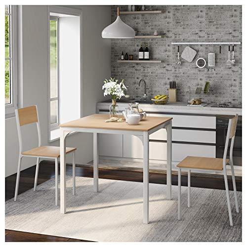 Juego de mesa de comedor con 2 sillas, marco de madera de acero, juego de mesa de comedor, color natural