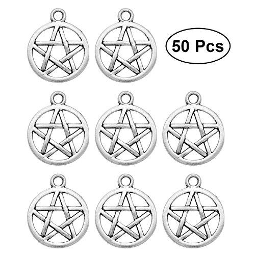Supvox 50PCS Silber Ton Pentagram Charms Anhänger Unisex Anhänger (Silber)