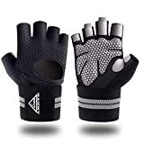 Gym Weight Lifting Fitness Gloves, Breathable Workout Gloves with Built-in Wrist Wraps,