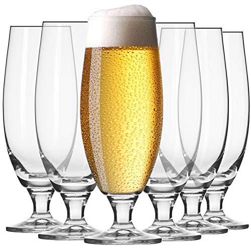 Krosno Pokal Craft Bier-Gläser 0,5 Liter | Set von 6 | 500 ML | Elite Kollektion | Perfekt für Zuhause, Restaurants und Partys | Spülmaschinenfest