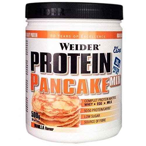 Weider Protein Pancake Mix, Tortitas de Avena Integral Enriquecidas con Proteínas, Sabor Vainilla - 500 gr