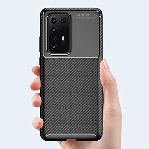MISKQ Hülle für Huawei P40 Pro, Stoßfest Handyhülle Schutzhülle Shock Absorption Cover Ultra Schlank Softschale Silikon TPU (Brown) - 2
