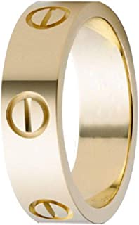MLYSA Women's Fashion Classics Titanium Steel Love Ring - Eternal Lovers Ring (Gold 6mm, 7)
