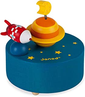 Janod Around the World Rocket in Galaxy Magnetic Music Box for Girl Boy, Best Birthday Gift for 3 Years+, J04670