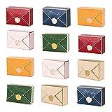 moin moin ラッピング プレゼント ボックス 12枚セット | 封筒 手紙 型 シーリングワックス ろう スタンプ | ゴールドライン (ゴールド/オレンジ/ピンク/グリーン/レッド/ブルー × 2枚ずつ) 2105ra242