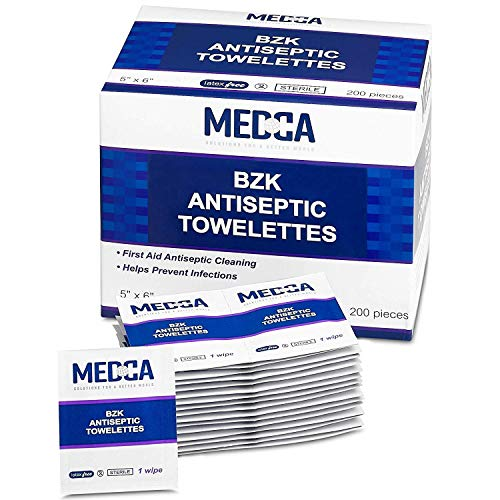 Antiseptic Wipes – (Pack of 300) Antibacterial Hand Sanitizer Wipes and Benzalkonium Chloride Swabs Individual BZK Single-Use Packets Clinically Proven, Kills Bacteria and Germs by MEDca