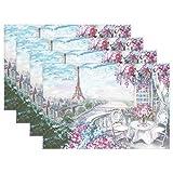 N\A Summer Eiffel Tower Paris France Mantel Individual, Pintura al óleo, Estampado de Flores, 12 'x 18', poliéster, Mantel Individual para Cocina, Comedor, Juego de 4