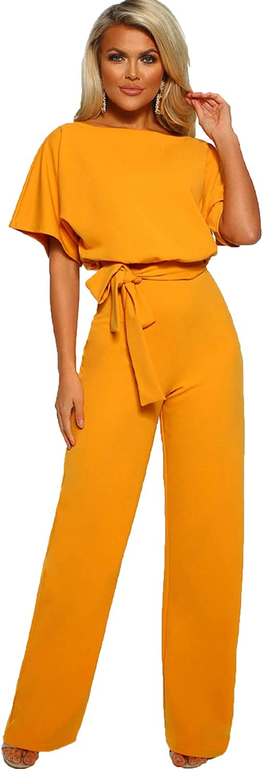 Women's Short-Sleeved cheap Casual Jumpsuit Shorts Loose Sleeve Colorado Springs Mall Belted