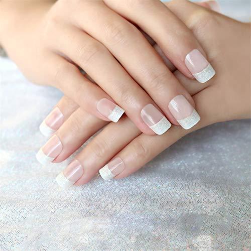 Vivid Stella Uñas Postizas Manicura Francesa Rosa Natural Uñas Cortas Puntas de Uñas Falsa Polvo de Cebolleta 24 Piezas