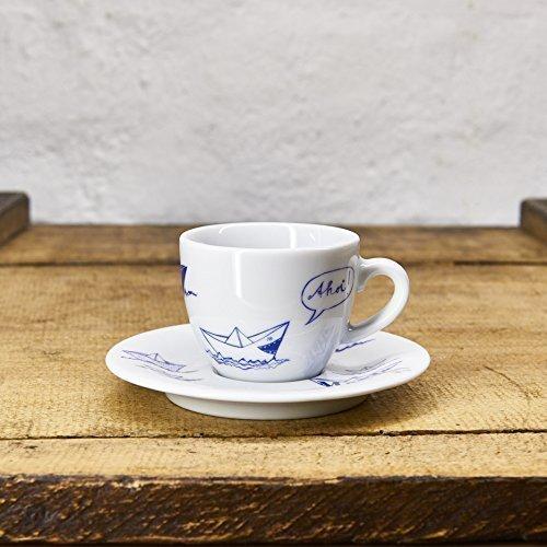 Espresso Tasse/Untertasse maritimes Design Papierschiffe - Porzellan blau-weiss von Ahoi Marie