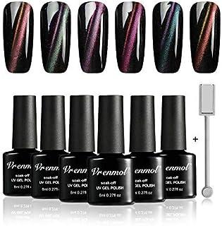 Vrenmol - Juego de esmaltes de uñas de gel magnético 9 D de ojo de gato UV LED 6 colores kit de decoración de uñas de 8 ...