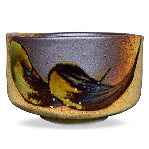 Tazón de té matcha japonesa hecho a mano, café, ceremonia de taza de té matcha, cerámica auténtica de Mino Ware, Shigaraki Oribe Chawan