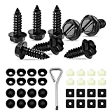 Haryeer Black License Plate Screws Fastener Kit, Stainless Steel Screws, Black License Plate Screw Covers and Anti-Rattle Foam Pads for Fastening License Plates, Frames and Covers