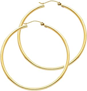 Mia Diamonds 14k Yellow Gold Satin and Diamond-Cut Square Tube Hoop Earrings