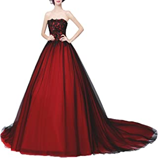 4bde8b4377 Zechun Womens Gothic Black Lace Strapless Prom Dress Evening Gown Classical  Red