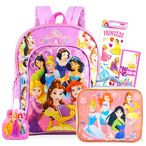Disney Princess Backpack and Lunch Bag for Girls Bundle ~ Deluxe 16' Princess School Bag, Insulated Lunch Box, Water Bottle, Stickers, and More (Disney Princess School Supplies)