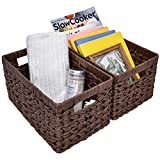 GRANNY SAYS Hand-Woven Storage Baskets, Imitation Wicker Baskets with Handles, Rectangle Decorative Baskets, Brown, 13' x 8.2' x 7', Set of 2