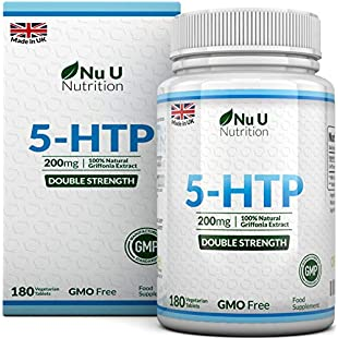 Double Strength 200mg 5-HTP 180 Tablets 6 Month Supply of High Strength 5HTP by Nu U Nutrition
