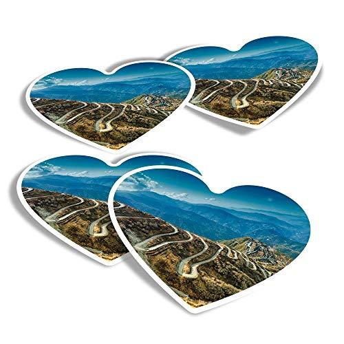Pegatinas de vinilo con forma de corazón (juego de 4) – Silk Trading Route China India divertidos adhesivos para portátiles, tabletas, equipaje, reserva de chatarra, frigoríficos #3527