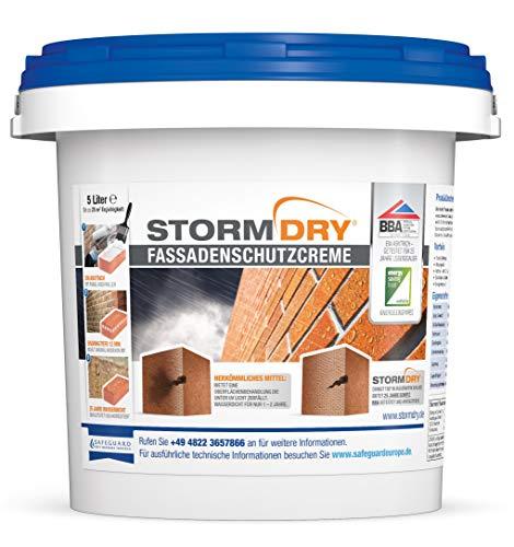 Stormdry Fassadenschutzcreme 5L - 25 Jahre Fassadenschutz gegen Feuchtigkeit. Die einzige BBA zertifizierte Fassadenhydrophobierung mit Abperleffekt - Fassadenimprägnierung, Steinimprägnierung.