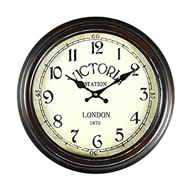 Adeco CK0022 14 ~15  Black & Brown Antique-Look Dial Decorative Vintage Retro Traditional Wall Hanging  Victoria Station  Circle Iron Clock, Arabic Arab, Brown