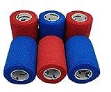 PintoMed Bendaggio COESIVO - 3 Rosso + 3 Blu - 6 Rotoli x 7,5 cm x 4,5 m Cerotto Flessibili, di qualità Professionale, di Primo Soccorso, lesioni Sportive, rulli confezionati singolarmente - Pack 6