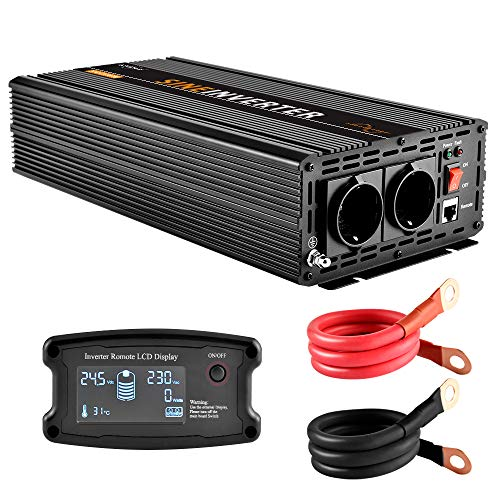 EnRise 2500 W pico 5000 W puro sinusoidal inversor de corriente DC 24 V a AC 230 V con mando a distancia LCD