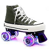 Guoyajf Kinder-LED-Licht-Up-Schuhe Mit Rollen - Roller Skates Schuhe Roller Turnschuhe Für Unisex Childs Mädchen Jungen Anfänger Geschenk,Grün,40