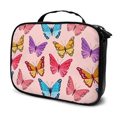 Multi-Purpose Cosmetic Train Case Lazy Zipper Clutch Bag Large Capacity Butterfly Swarm Flying
